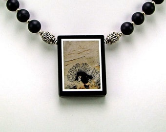 Superb Dendritic Jasper Intarsia Pendant Necklace - N228