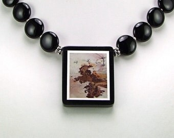 Japanese Artistic Jasper Intarsia Pendant Necklace - N312