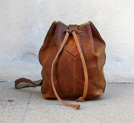 Vintage Distressed Rugged Brown Leather w/Embossed Crocodile Trim  Drawstring Sling Backpack