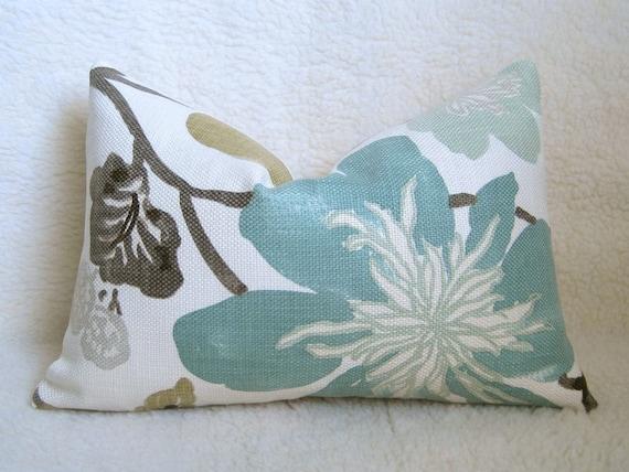 Aqua Brown Decorative Pillows : Kravet Jellybean Designer Pillow Aqua Brown by WillaSkyeHome