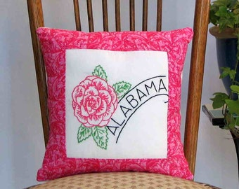 Alabama flower pillow, dorm decor, cabin, cottage, farmhouse, with vintage hand-embroidery -- a keepsake gift. Includes pillow form.