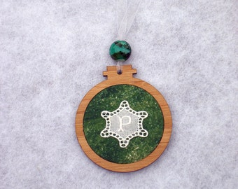 Monogram Christmas ornament gift, with vintage embroidery, wood, fabric, beads, gift for her, gift for him, P, any letter available