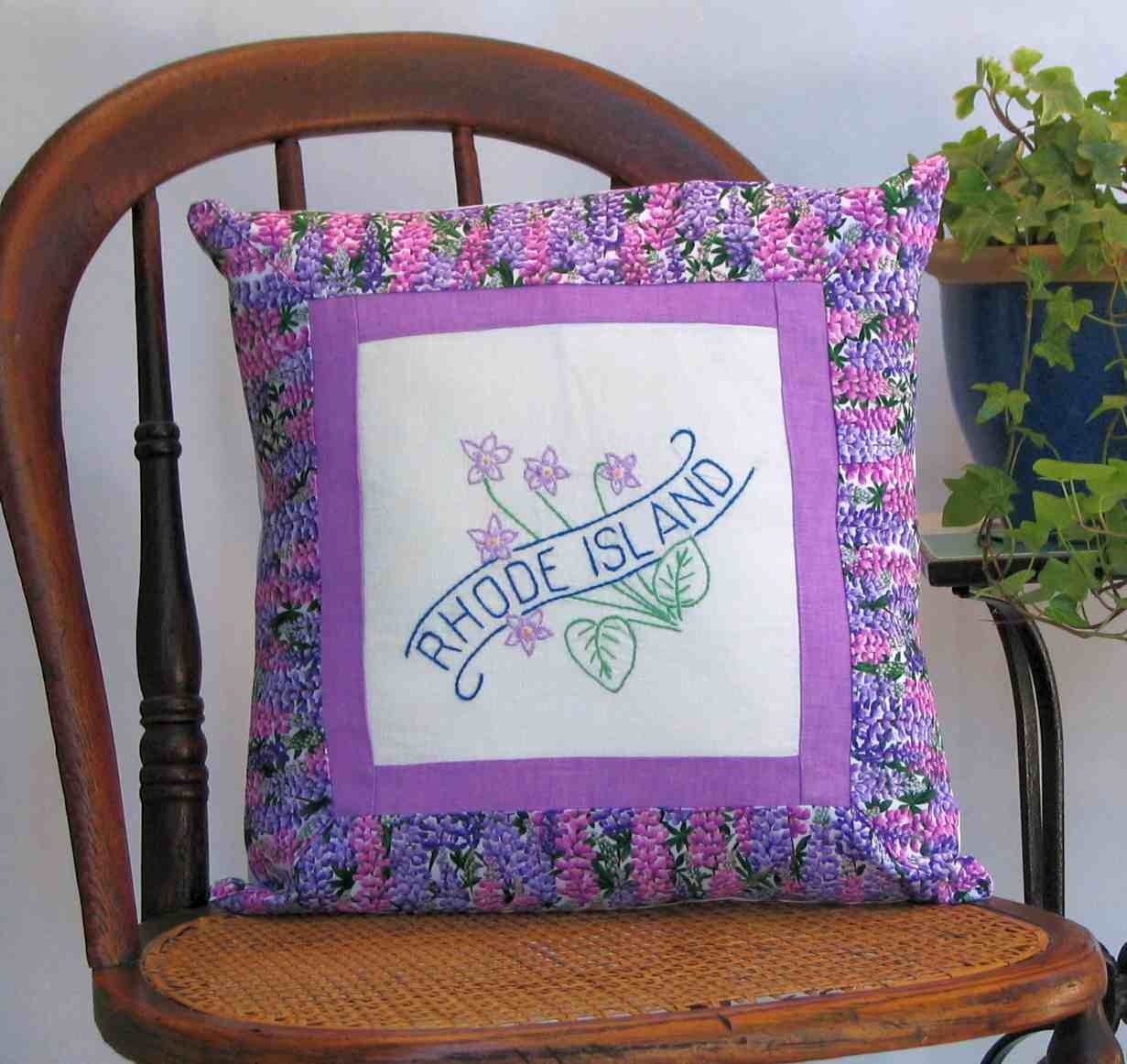 Rhode Island flower pillow cabin cottage farmhouse decor
