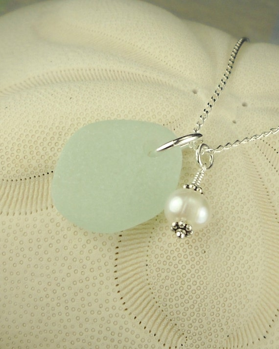 GENUINE Sea Glass Jewelry Aqua With Wire Wrapped Pearl Necklace