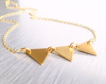 Gold triangle necklace - geometric vintage raw brass bunting / banner on delicate gold plated chain - Little Flag Trio