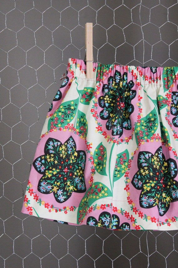 Girls Skirt - Pink & Green Floral - Perfect for Spring and Easter