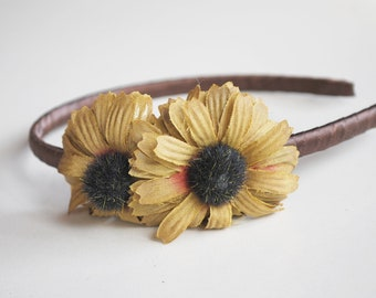 clearance olive green and brown flower headband for women and teens: hannah