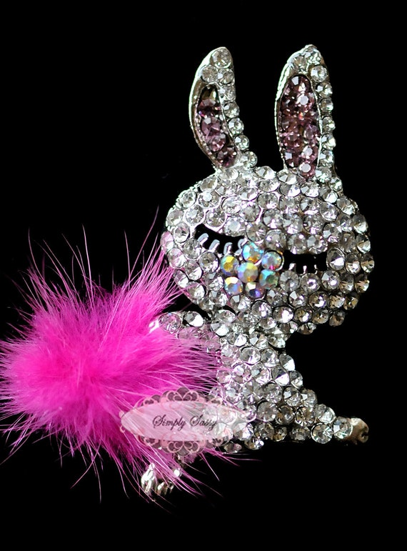 1pc RD222 Rhinestone Crystal Bunny with fur Flatback Metal Brooch Embellishment Jewelry Iphone Case DIY supplies