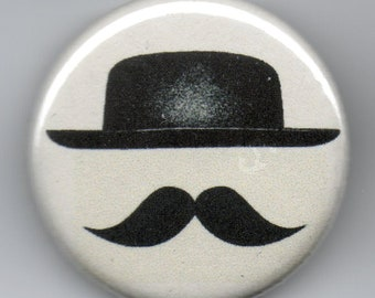 Hat with a Mustache 1.25 inch Pinback Button  Vintage Illustration