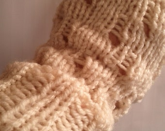 Lacy Reversible Fingerless Gloves. Handwarmers. knitted.