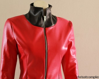 Red Leather Catsuit Goth Gothic Biker CHRISST