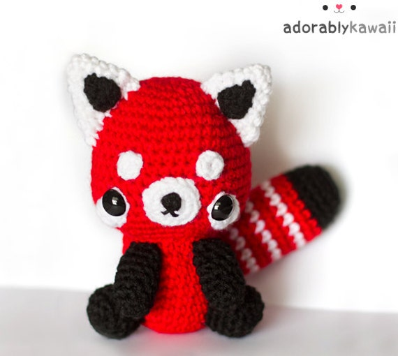 Red Panda Plush, Cute Amigurumi, Crochet Stuffed Animal, Nursery Toy, Baby Toy, Red Panda Amigurumi, Cute Red Panda Stuffed Doll
