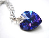 Blue Ocean Heart Necklace deep blue swarovski heart with elegant zirconia in a heart chain