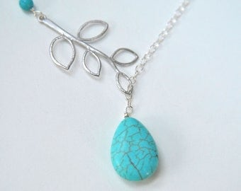 Turquoise Branch Lariat Necklace leaves Branch in sterling silver or stainles steel teardrop