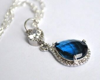 Bridesmaid Sapphire Blue Necklace Briolette Framed Glass Rhinestone, Set of 2, 3, 4, 5, 6, 7, 8, 9, 10, 11, 12 Pendant