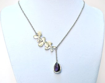 Purple Orchid Necklace Lariat silver Amethyst Bridesmaid Necklace, Bridal jewelry Jewlery