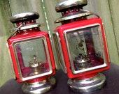 vintage red lanterns - bright tomato hanging lanterns pair