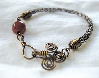 Wire Woven Bracelet with Carnelian Bead - Reiki Charged - Handmade Viking Jewelry- Trichinopoly