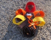 Fall Thanksgiving Celebration Happy Turkey Hair Clip Hair Bow You Pick Colors
