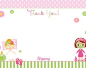 Spa Birthday Party Thank you note --  - spa girls --  you print or I print
