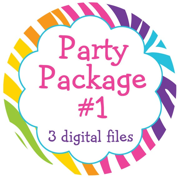 Party package - any three digital files -  matches any invitation theme in my shop. -- you choose your digital files