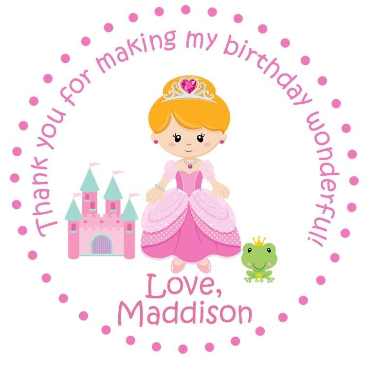 Princess Birthday Party Sticker -- personalized birthday sticker ...