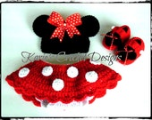 Minnie Mouse Polka Dots Crocheted Baby Skirt Diaper Cover Set / Red / Diaper Cover Skirt, Hat and Booties
