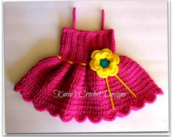 Shocking Pink / Bright Yellow  & Teal  / Yellow Ribbon Straps Crocheted Summer Dress