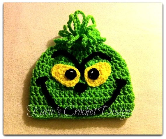 THE GRINCH , Dr. Seuss , How the Grinch Stole Christmas , Halloween, Phot Prop ,  Crochet Hat Beanie
