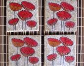 POPPY COASTERS handmade tile coasters drink coasters modern gift for home original artwork-set of 4 home decor christmas gift hostess gift