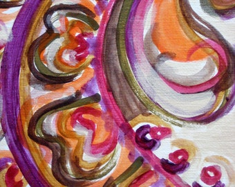 """ETHNIC abstract PAISLEY painting 8""""x8"""" PAISLEY design magenta ochre green by devikasart on Etsy"""