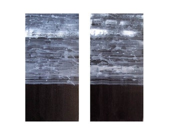 "ABSTRACT painting black and white ORIGINAL 12""x12""- two panels"
