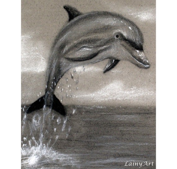 Dolphin - Matted 8x10 Watercolor print - Charcoal Drawing, jumping, playing, ocean, sea - Day 176 Print