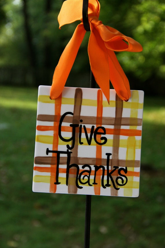 Give Thanks, Fall ceramic sign, Fall tile, Give Thanks door hanger, Thanksgiving decoration, Thanksgiving tile, Hand painted, autumn tile