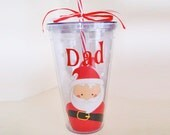 Christmas Santa Claus Tumbler Drinkware 24 Ounce Double Walled  Red and White Candy Stripe Straw