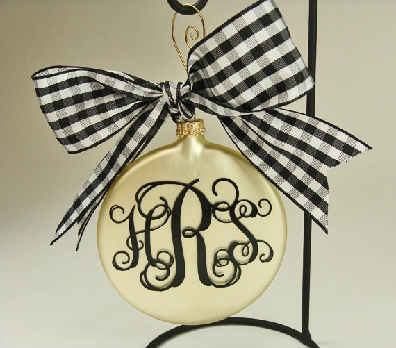 Satin Gold Round Glass Christmas Tree Ornament Personalized with Monogram and tied with Black and White Check Bow
