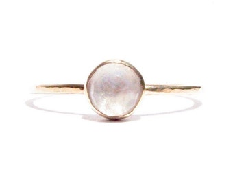 Moonstone 14k Solid Gold Ring - Rose Cut Ring - Stacking Ring - Thin Gold Ring - Moonstone Ring - Moonstone Engagement Ring - MADE TO ORDER.