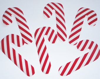 6 Iron On Fabric Applique Red and White CHRISTMAS CANDY CANES