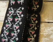 Vintage Mittens  Adorable  1960s or 70's Retro Pair Black white Pink Green
