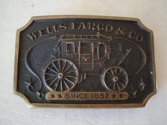 Vintage Wells Fargo & Co Belt Buckle Brass Made In the USA 1973