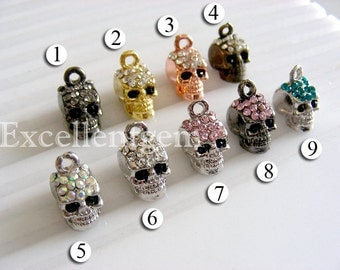 10 Charms, Rhinestones charms, Skull charms, Skull beads, jewelry findings, Jewelry charms. for bracelet making