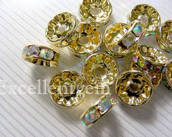 50 gold platd High quality AB color Crystal Rhinestone Brass spacer Wheel Rondelles For basketball earring spacers