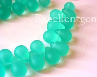Full strand quartz teardrop in Mist lake green -11x9mm- 23pcs