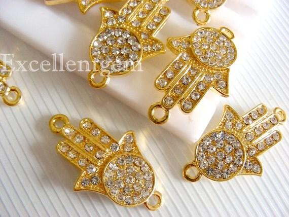 Bracelet connector 5 Gold plated with Crystal rhinestones Hands of Fatima Hamsa Bracelet Connector