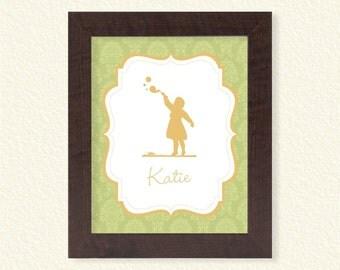 Baby Name Nursery Printable - Green Damask - 8x10  - Digital Printable Poster, Print, Typography, Art, Download and Print JPEG Image