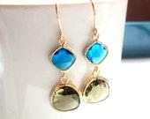 Blue and olive green glass gold dangle earrings.  Bridal earrings.  Bridesmaids earrings.  Wedding jewelry.