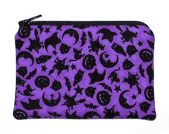 Halloween Silhouettes on Purple Coin Change Purse Small Zipper Pouch