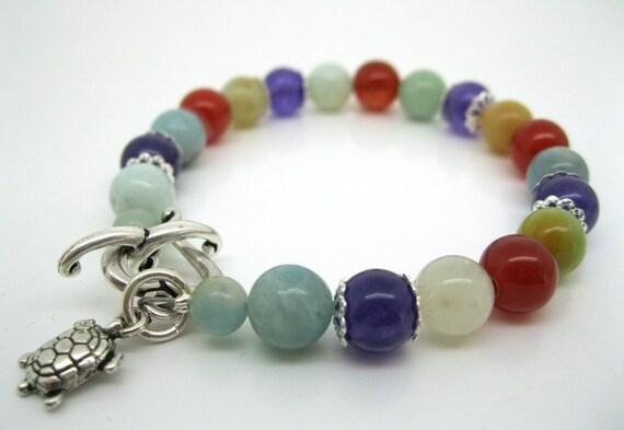 Fertility Bracelet, Amazonite, Amethyst, Carnelian with Turtle Charm