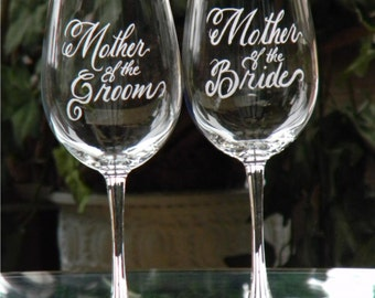 Mother of the Bride and Groom Engraved Wine Glasses Personalized with your wedding date, Set of 2