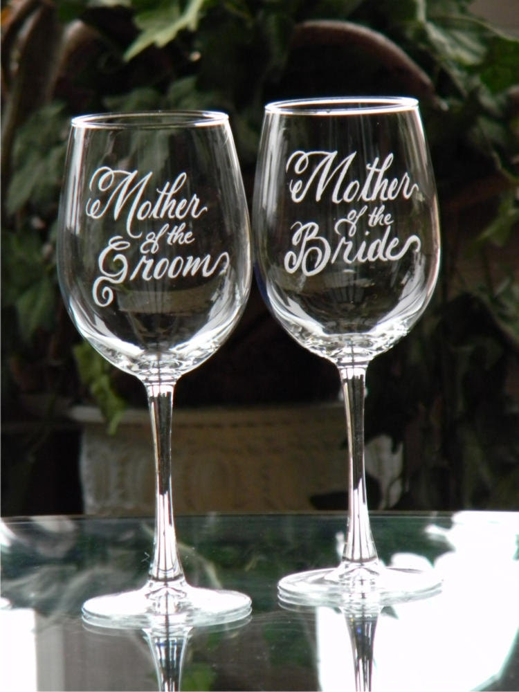 Mother of the Bride and Groom Wine Glasses Personalized with